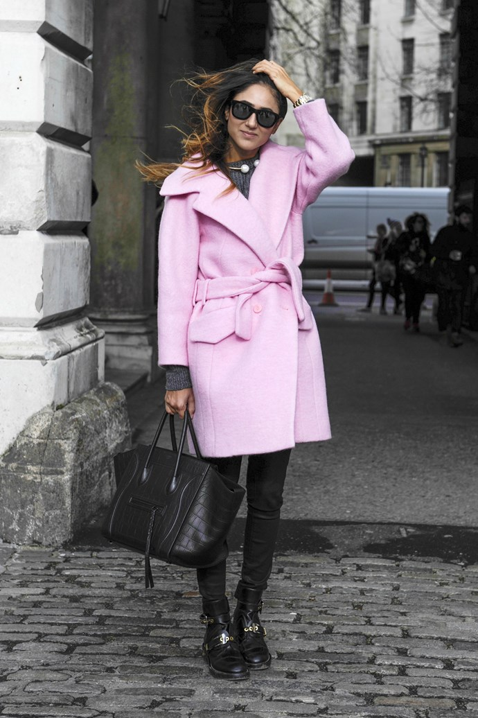 Thinking pink is a sure-fire way to brighten up winter blacks