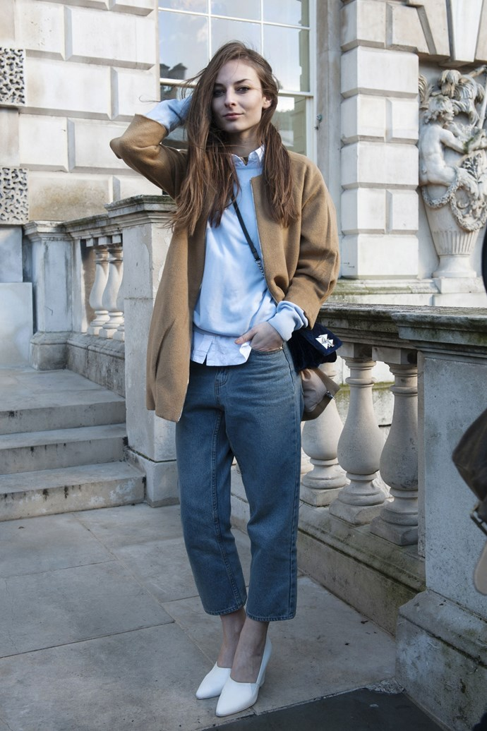 La garconne: a crisp blue button down and camel coat are the perfect pair for an elegant gamine look