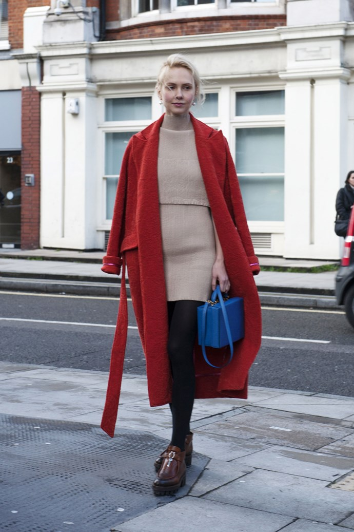 Primary colours are a confident wardrobe staple for a ladylike street style look