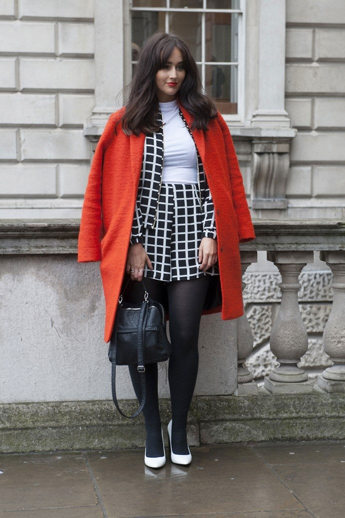 Eye-catching red and monochrome prints is a no brainer in the street style stakes