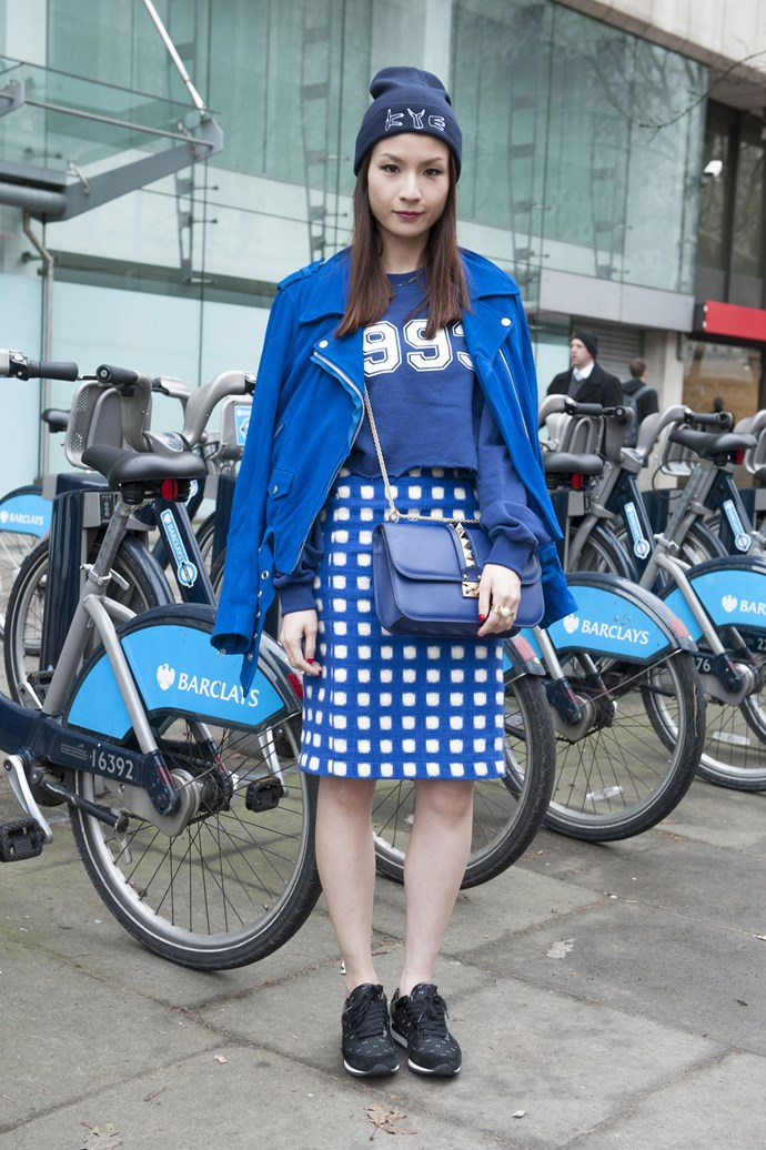 Shades of preppy blue accentuate the athletic look of cropped tee and geometric print skirt with sports jacket, casual beanie and black trainers to finish this sporty style.