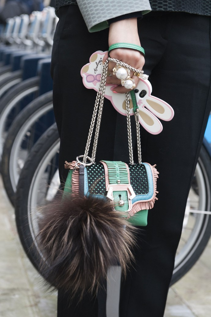 Kitch and cute; we love this candy-coloured bag, adorable phone over and pearl knuckledusters