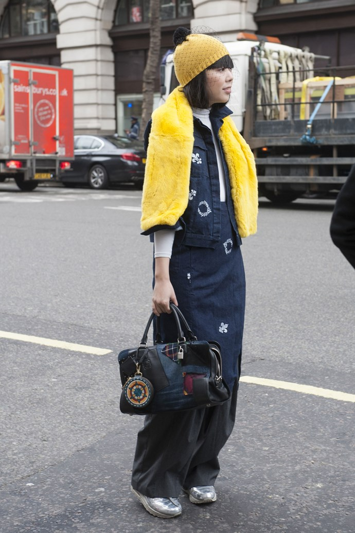 Take winter fashion inspiration from one of the world's most snapped bloggers, Susie Bubble. Not many people could make navy, canary yellow and metallic work, but Bubble sure does.