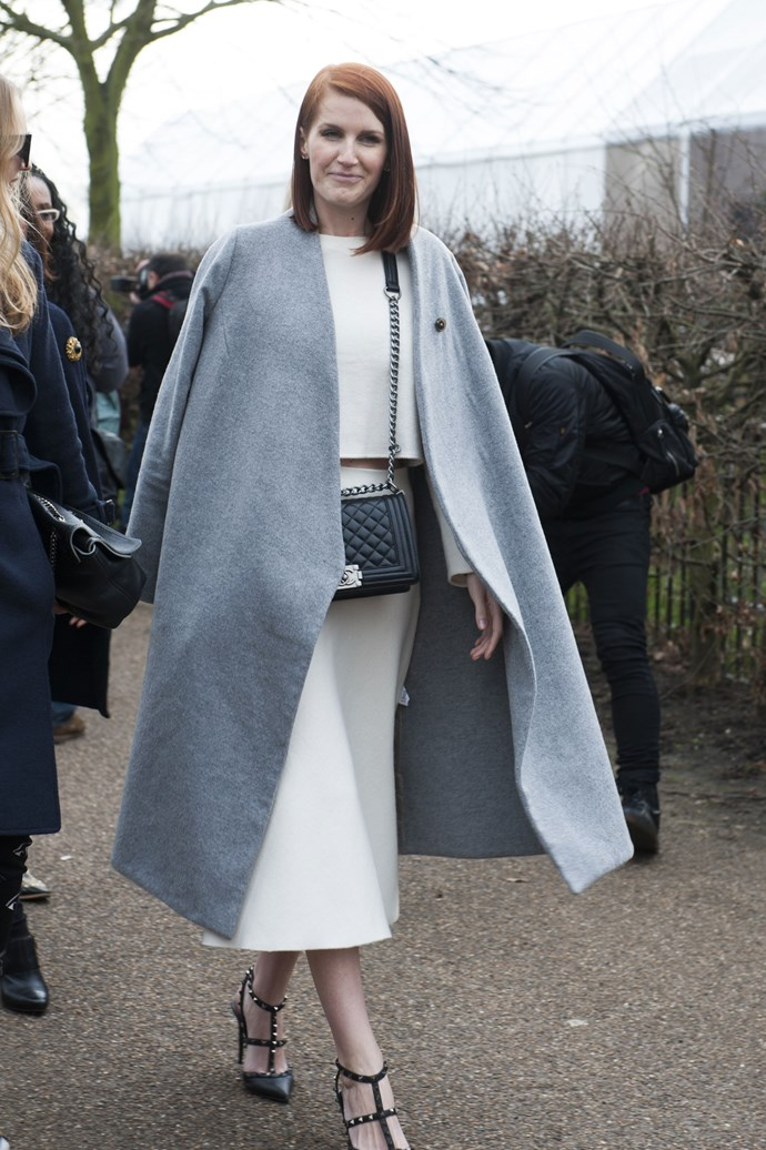A cheeky peek of the midriff compliments a midi-length skirt, as seen at London Fashion Week