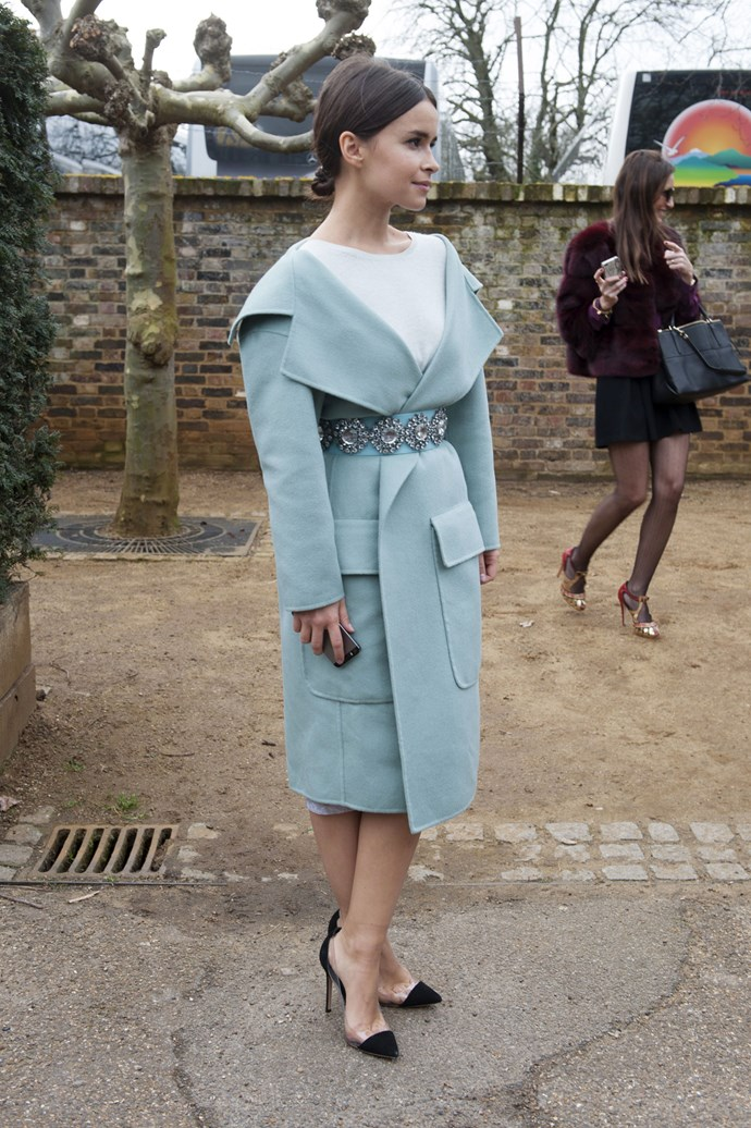 Miroslava Duma is fit for the throne in this bejeweled powder blue ensemble.
