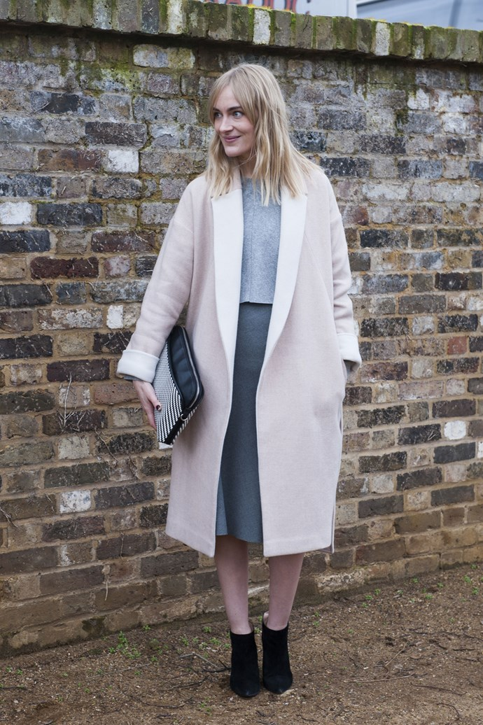 Playing with proportions is a great way to modernise a classic beige overcoat