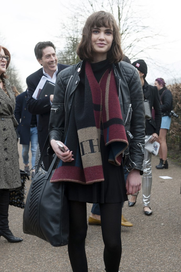 A model from Burberry gets to take home her blanket from the brand's AW14 show
