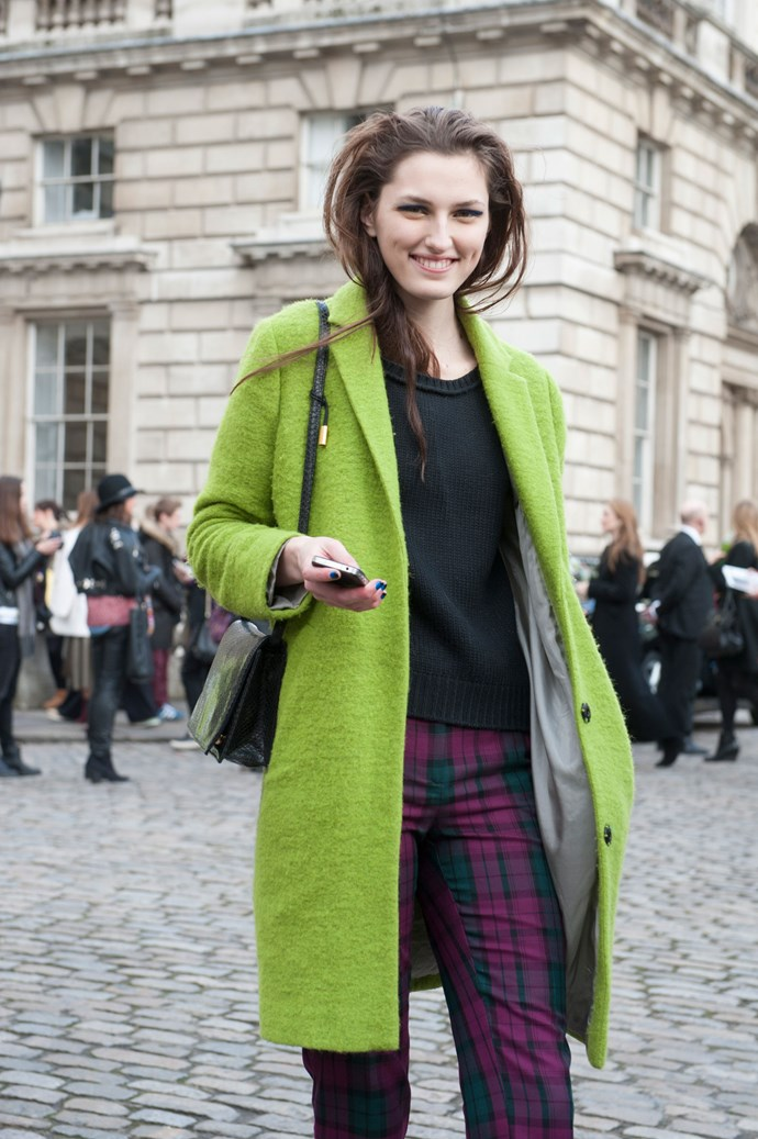 A Kermit green coat sure does catch your attention