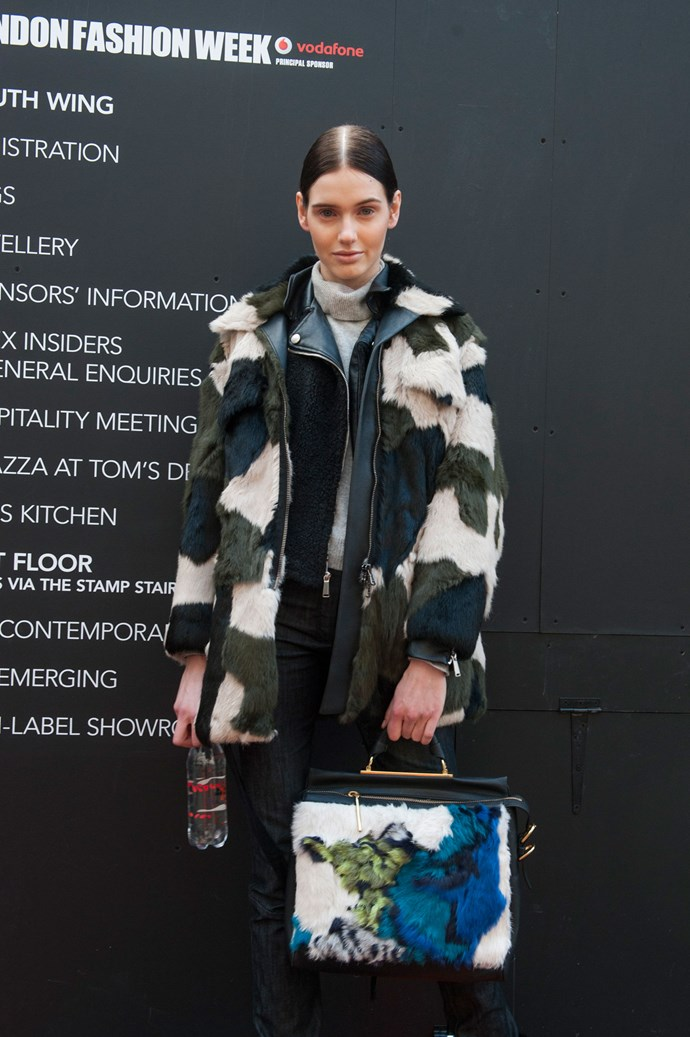 A mixed camo-fur coat (with matching bag) is the winter iteration of the multi-colour, multi-fabric, patchwork trend we've been seeing on the runways.