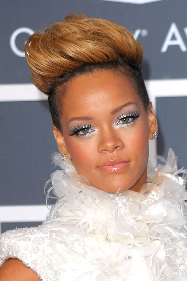 At the 2010 Grammys RiRi turned up with a longer and blonder crop, styled into a quiff.