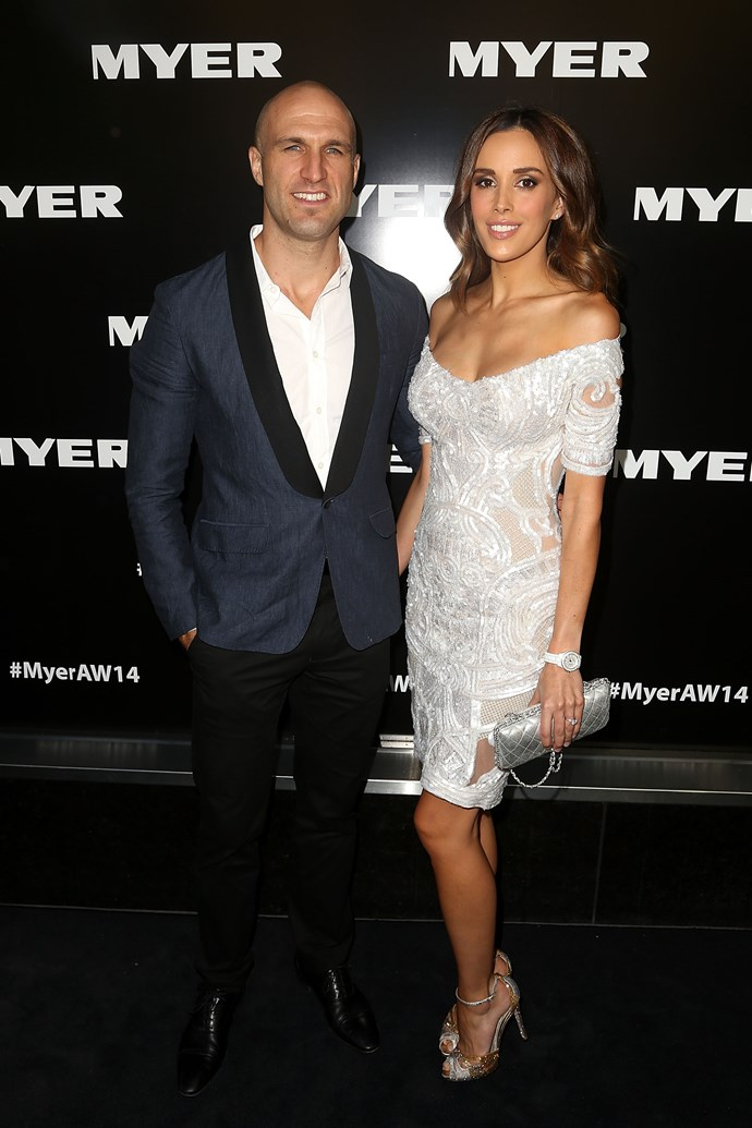 Chris and Rebecca Judd at the Myer AW14 fashion show in Melbourne
