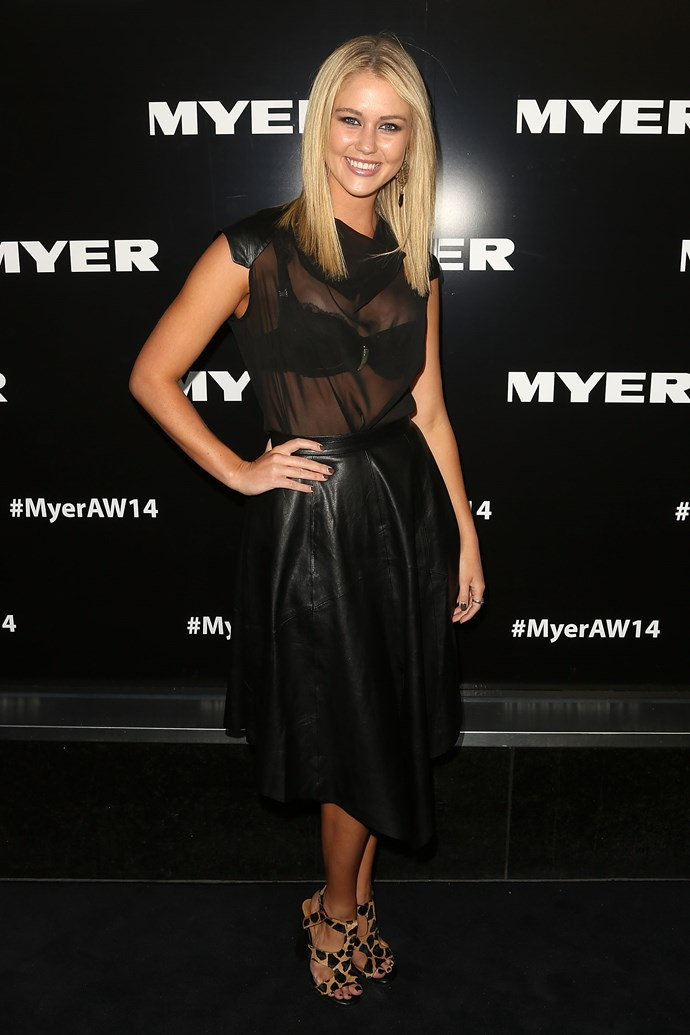 Scherri-Lee Biggs at the Myer AW14 fashion show in Melbourne