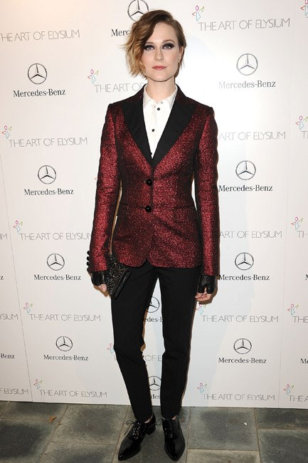 The sparkles on Evan Rachel Wood's Moschino Cheap and Chic blazer elevated the piece from desk to dance-floor, for a soiree in Los Angeles.