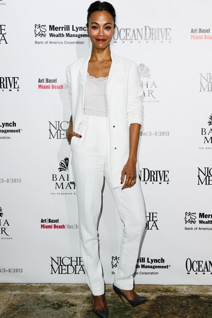 Zoe Saldana pushed up the sleeves of her Lanvin blazer channeling a beachy-vibe at a party in Miami, this year.
