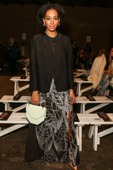 Solange Knowles was a master of proportions when she sat front row at the Honor autumn/winter 2014 show during New York Fashion Week. A smart blazer complimented that slinky skirt.