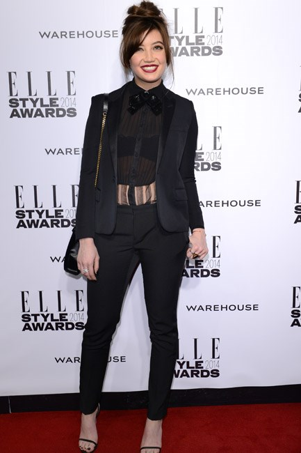 Daisy Lowe styled her blazer with a sheer shirt and strappy sandals – this perfect smart-slash-sexy combo was spotted at the Elle Style Awards 2014.