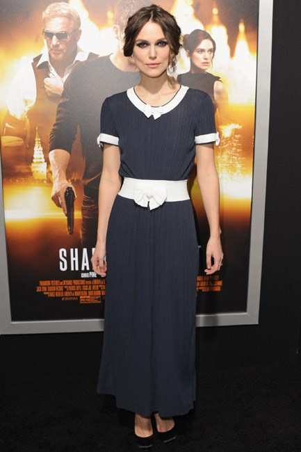 Keira Knightley wore a sailor-girl Chanel dress to the Los Angeles premiere of <em>Jack Ryan: Shadow Recruit</em>.