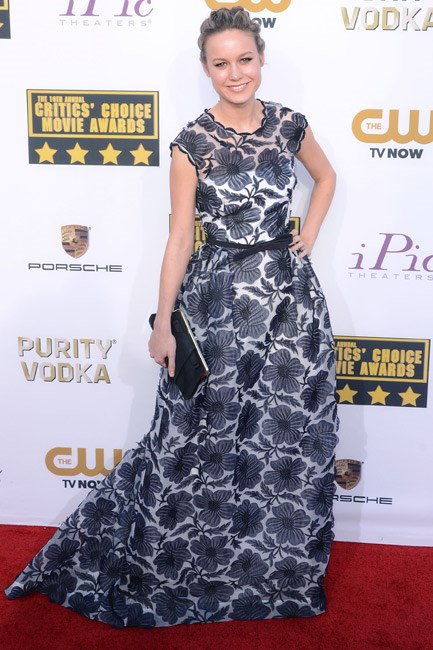 A floral print courtesy of Escada looked so-fresh on Brie Larson, at the Critic's Choice Awards 2014.