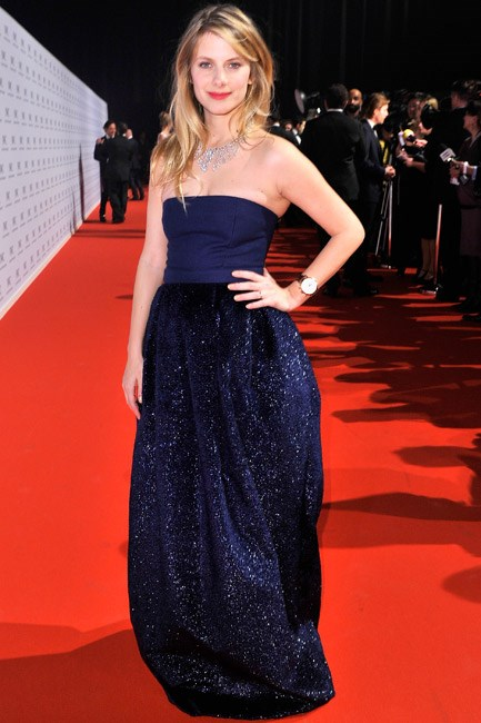Mélanie Laurent made a red carpet appearance in Geneva, Switzerland, and stunned in a Maxime Simoëns gown with contrasting textures.