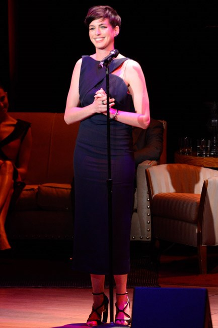 Anne Hathaway performed during The Great American Songbook event honouring Bryan Lourd in New York City and her Vionnet gown stole the spotlight.