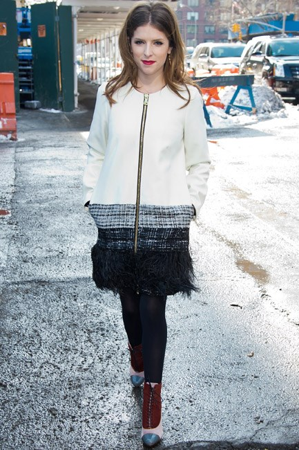 "Even as the ""polar vortex"" inflicted its snow storms on New York Fashion Week A/W 14-15, Anna Kendrick managed to look <em>this</em> cool all bundled up."