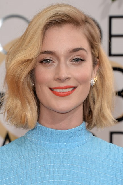 Caitlin FitzGerald at the Golden Globes 2014.