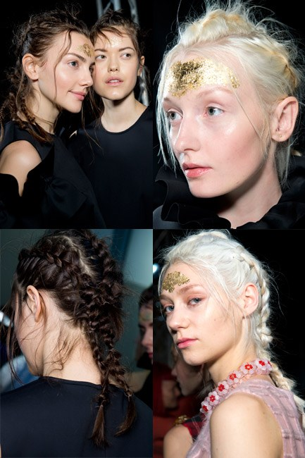<strong>Bed-hair plaits </strong><br> Slept-in and haphazard-style braids are a <em>thing</em> this runway season – happening as we type. Our plait pick, so far? The look at Simone Rocha autumn/winter 2014-2015.
