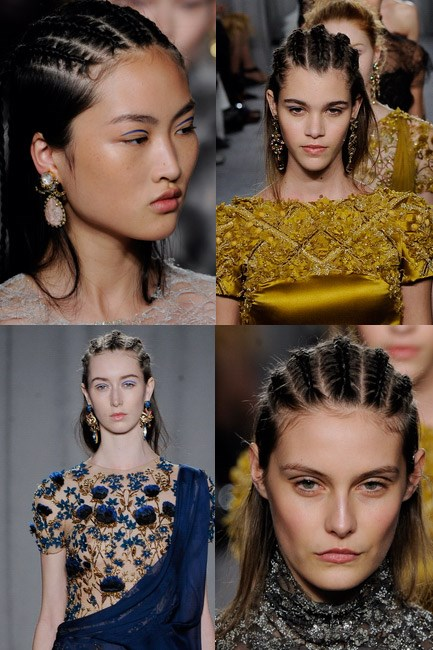 <strong>Line plaits</strong><br> Multiple braids were spun in orderly lines down the head at Marchesa autumn/winter 2014-2015.