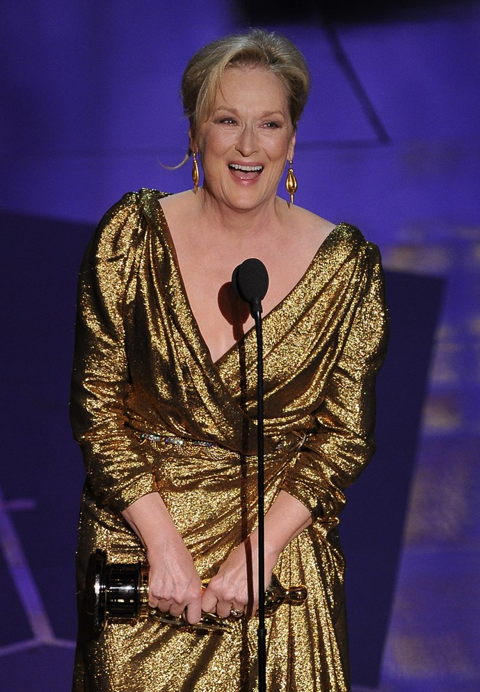 """<strong>Meryl Streep, 2012<br></strong><br> """"When they called my name I had this feeling I could hear half of America going, """"Oh no! Oh, come on why? Her? Again?... But, whatever."""" Meryl Streep's speech for her Best Actress win for The Iron Lady had all the elements we've come to love about her – grace, kookiness, dry humour and impeccable delivery. She thanked her husband first, because """"when you thank your husband at the end of the speech, they play him out with the music…"""", followed by her longtime makeup artist, and an emotional shout-out to her friends. Magnificent."""
