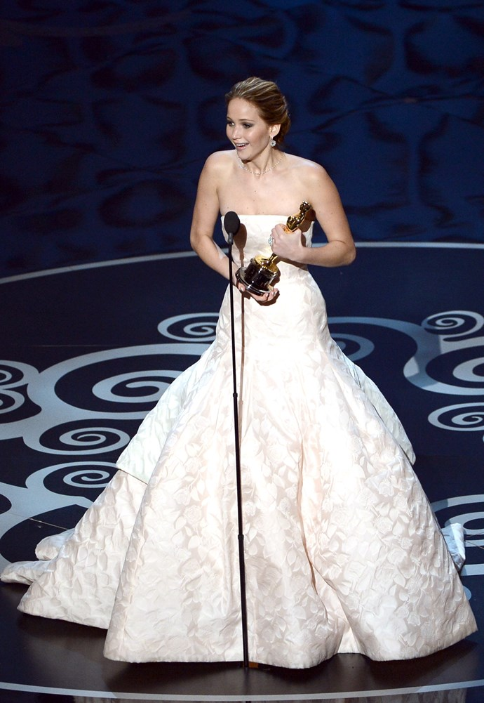 """<strong>Jennifer Lawrence, 2013<br></strong> So she fell (and sparked a million internet gifs), but the Silver Linings Playbook Best Actress winner took it with a grain of salt, brushing it off with a simple joke, """"you're only standing up because you feel bad because I fell and that's really embarrassing."""" Before rolling off her thank yous in an endearing rush of words. And so the world's J-Law obsession began…"""