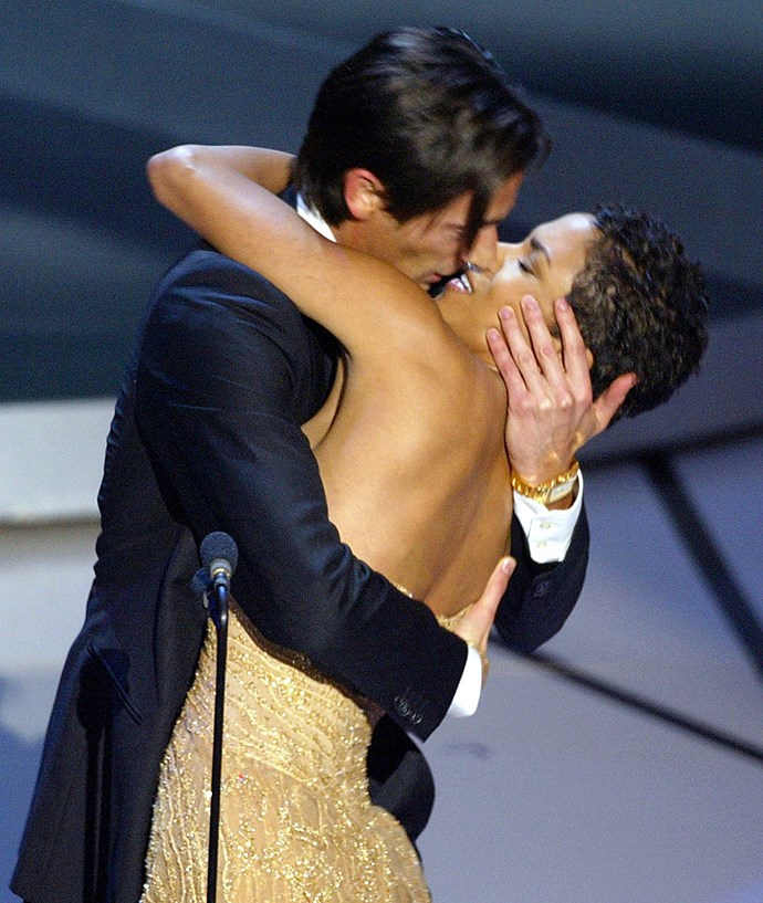 """<strong>Adrien Brody, 2003<br></strong> How could anyone forget Adrien Brody winning Best Actor for The Pianist, receiving a standing ovation, excitably approaching the stage, kissing presenter Halle Berry then suavely turning to her to say, """"I bet they didn't tell you that was in the gift bag.""""?!  Handsome, honest and supremely humble, Brody also makes a heartfelt statement about peace and the horror of war, earning him another standing ovation from the crowd. What a man."""