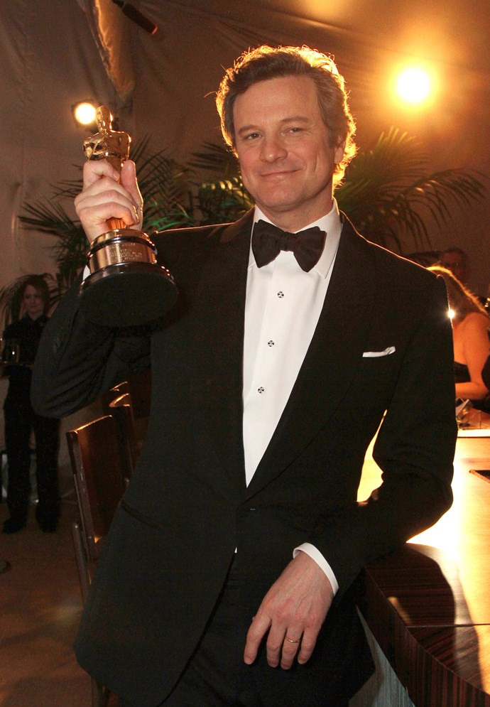 """<strong>Colin Firth, 2011 <br></strong> Taking the stage to accept Best Actor for The Kings Speech, Firth is all class. He is eloquent, heartfelt and opens with that wry English humour we all love. He thanks his wife for """"putting up with his fleeting delusions of royalty"""", his friend Tom Ford, and pokes fun at his late-blooming career. England, the man is a national treasure."""