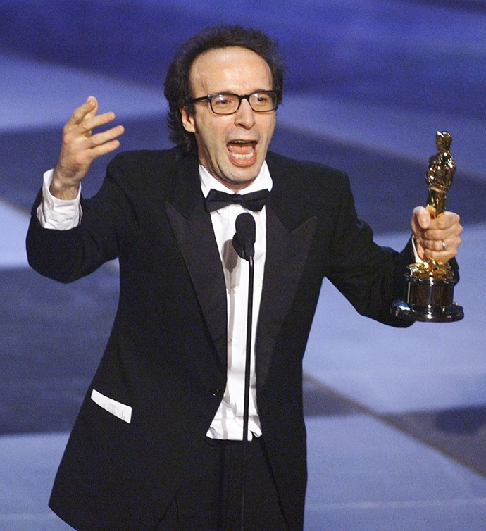 """<strong>Roberto Benigni, Life Is Beautiful, 1999<br></strong> In a moment of pure joy, Life Is Beautiful's larger than life auteur Roberto Benigni and Best Foreign Language Film winner leaped across the seats, waving his arms and bunny hopping up the stairs. His speech, delivered in a thick Italian accent, was delightful, enthusiastic and so heartfelt, """"[my parents] gave me the biggest gift of poverty. I want to thank you for that.""""  He also took out Best Actor in the same form, """"this is a terrible mistake! I've already used up my English!"""" So adorable."""