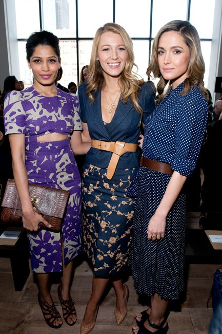 <strong>Who:</strong> Blake Lively and Rose Byrne (pictured with Freida Pinto)<br> <strong>Where:</strong> Michael Kors at New York Fashion Week<br> <strong>Style lesson:</strong> Repeat after us: belt everything. The style-set strapped in blazers, oversized coats, floaty dresses, lady-like blouses and more.