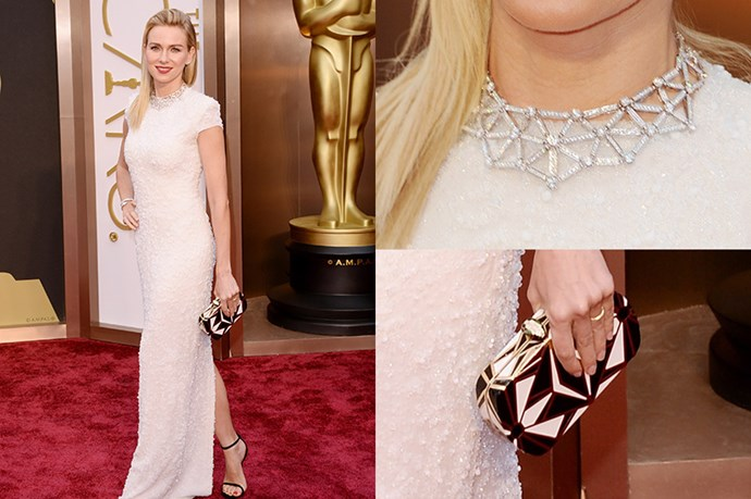 It's a geometry-game for Naomi Watts' accessories with a blinding Bulgari diamond necklace and Art Deco inspired clutch.