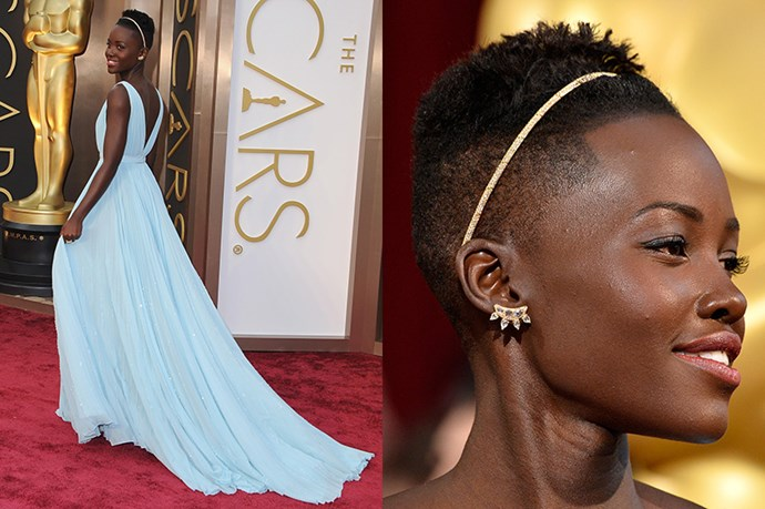 The Kenyan beauty wore a 18kt yellow gold and diamond headband by Fred Leighton, giving her cropped hair a feminine twist.