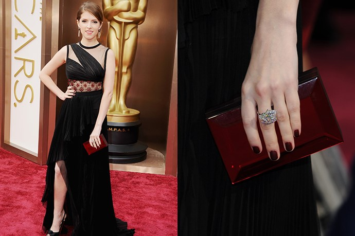 Anna Kendrick paired her Mendel gown with Piaget jewellery, and a red-wine Rauwolf clutch; coordinating her nails to match.