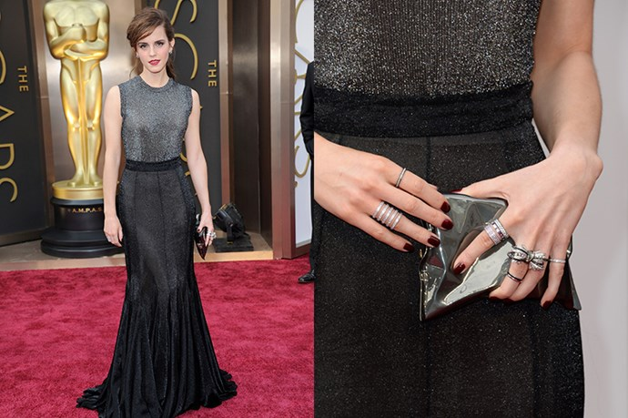 Emma Watson made her presenting-debut at the Oscar's this year, wearing a Vera Wang gown, and a collection of Chanel, Repossi, Bouchon and Solange rings (we'll have one of each!). Also, in a nod to her British routes, the<em> Harry Potter</em> star carried an Anya Hindmarch 'chip bag' pouch.