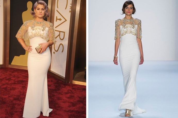 "Kelly Osbourne wearing Badgley Mischka SS14 <strong><BR><BR>RUNWAY SHOW: </strong> <a href=""http://www.elle.com.au/runway/ready-to-wear/ss14/2013/9/badgley-mischka-ss14/badgley-mischka-ss14"">Badgley Mischka SS14</a>"