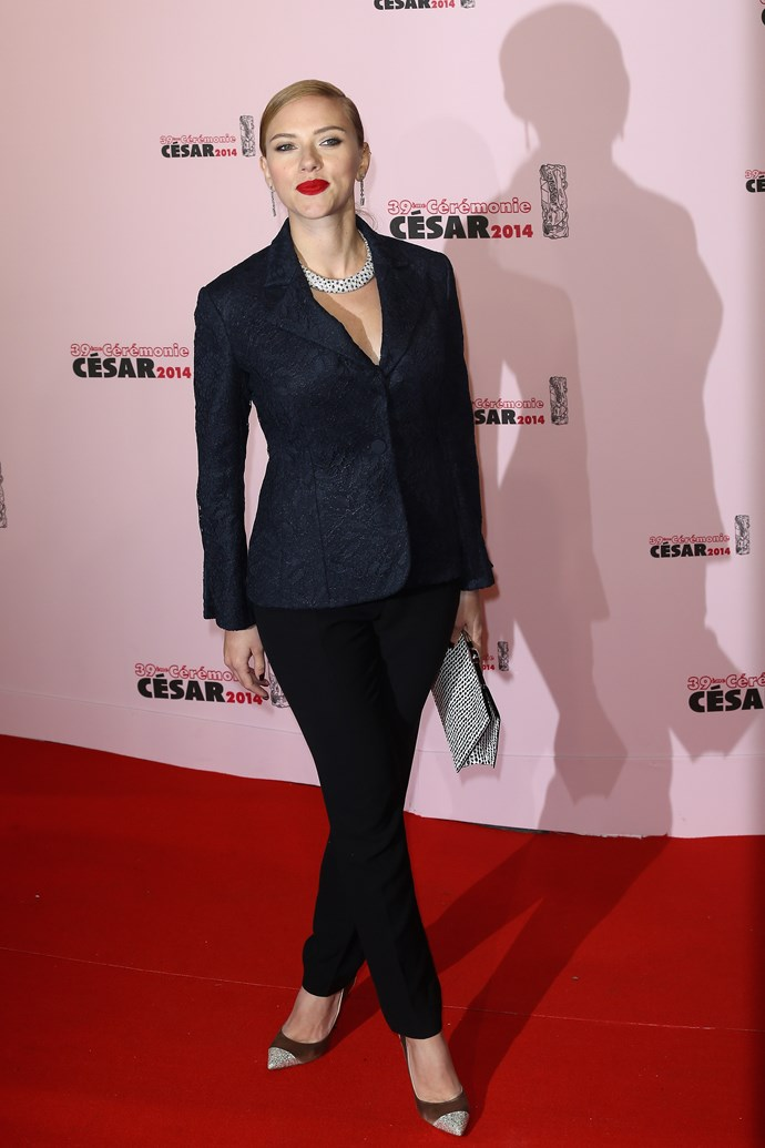 Scarlett Johansson at the 2014 Cesar Awards in Dior.