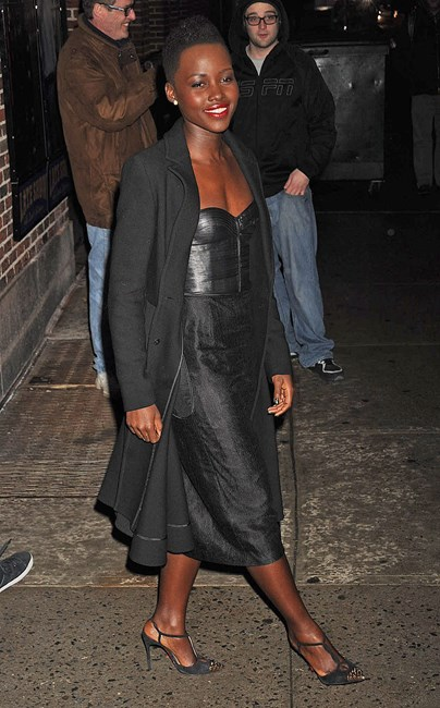 Lupita Nyong'o wearing J. Mendel at the <em>Late Show</em> with David Letterman