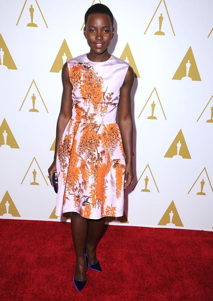 Lupita Nyong'o wearing Chrisitan Dior at the 86th Academy Awards Nominees Luncheon