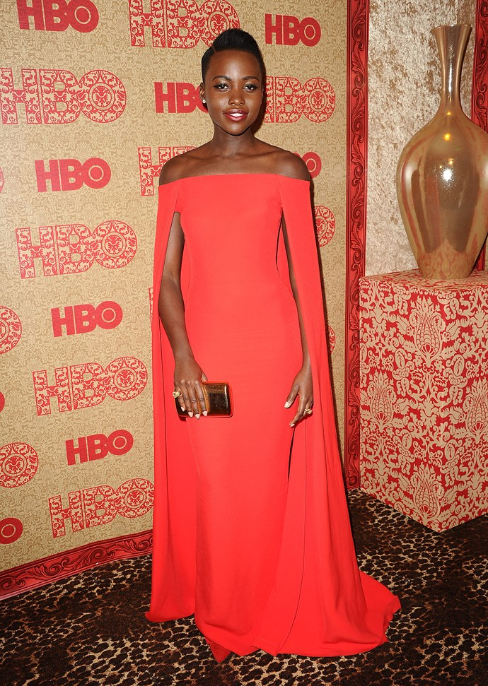 Lupita Nyong'o wearing a Ralph Lauren gown