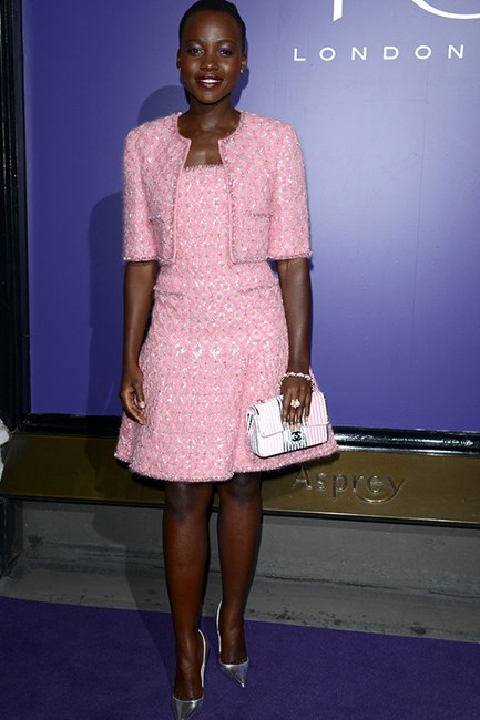 Lupita Nyong'o wearing Chanel Couture at the Charles Finch & Chanel Pre BAFTA Party