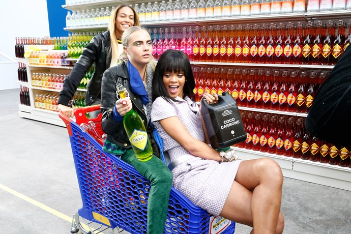 Cara Delevingne and Rihanna on the Chanel Supermarket runway
