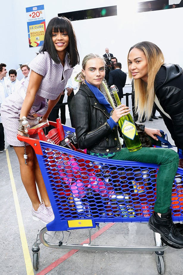 Rihanna, Cara Delvigne and Chanel Iman shopping in the Chanel supermarché.