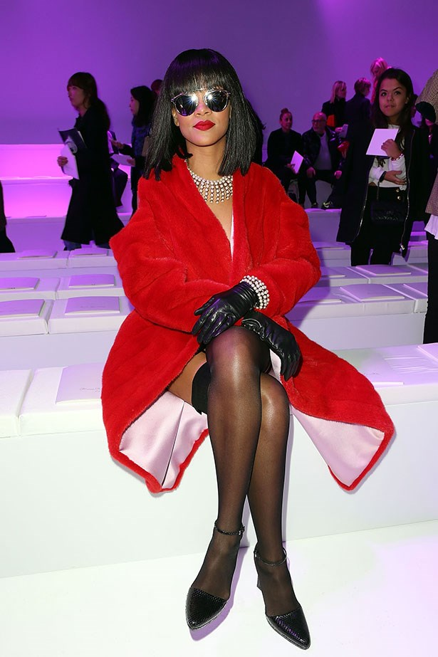 Friday: Rihanna wearing suspender stockings and Dior fur at Christian Dior