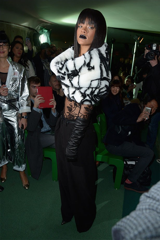 Saturday: Rihanna goes goth for Jean Paul Gaultier.