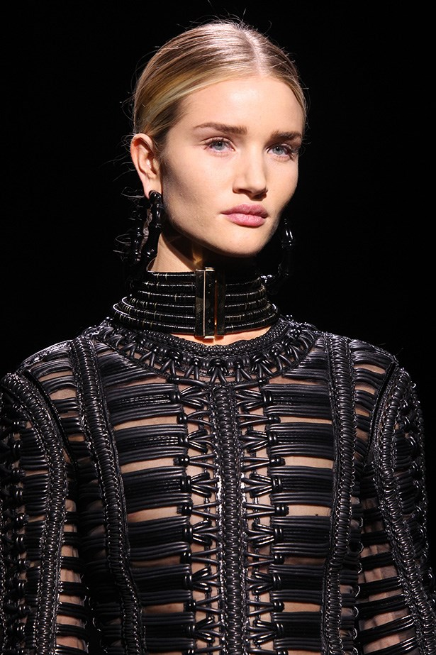 """<strong>Natural part-deux<BR></strong> The no-makeup makeup trend continues from SS14, with Balmain enlisting makeup artist Tom Pecheux to give Rosie Huntington-Whiteley et al a """"raw"""" look. He treated the models to facial massages and treatments like Rodin Olio Lusso Luxury Face Oil ($185, <a href=""""http://outergold.com"""">outergold.com</a>), for glowing skin from within sans layers of makeup."""