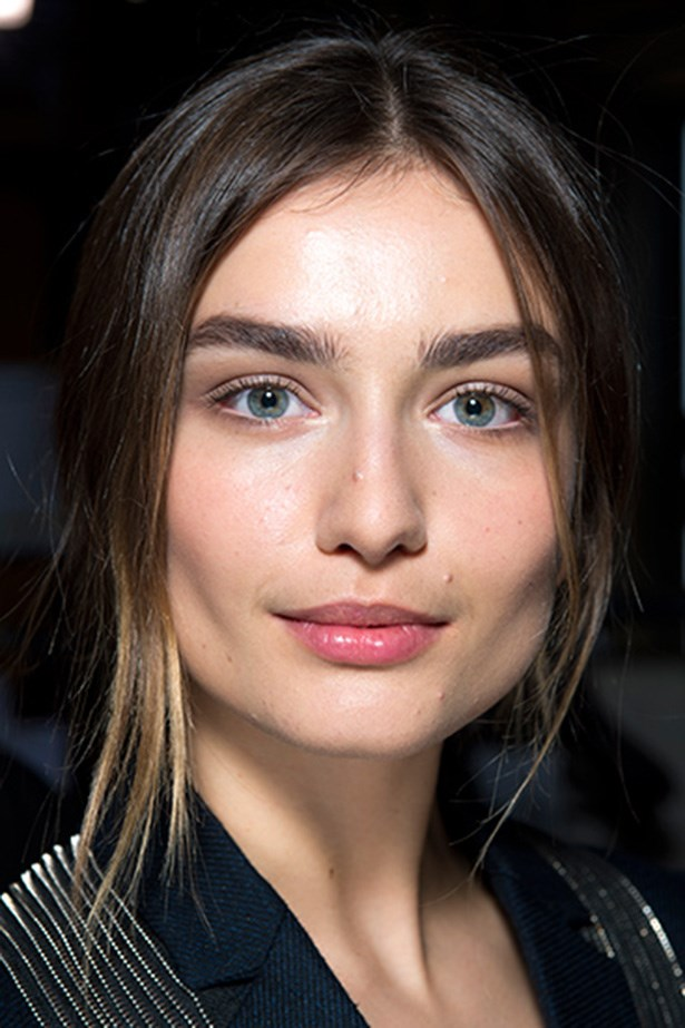 "<strong>Natural part-deux<BR></strong> Makeup legend Pat McGrath was behind the ""McCartney girl"" look; fresh and low-maintenance. McGrath used a rosy crème blush on the apple of the cheeks and a few swipes of barely-there brown eye shadow."